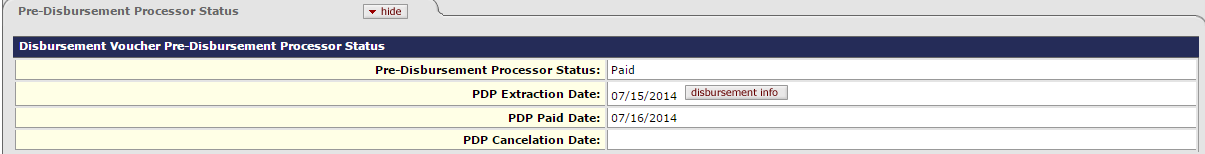 The Pre-Disbursement Processer Tab shows the current status of the payment