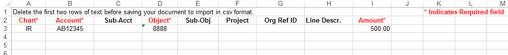 image of data in excel