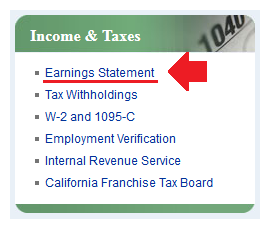 Shows the Income & Taxes Box on AYSO. The Earnings Statement link is highlighted.