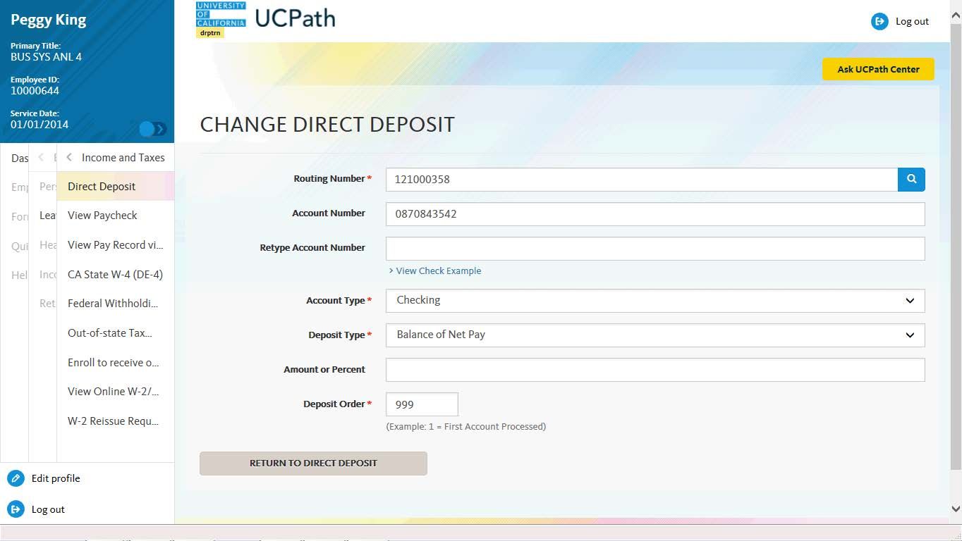 direct deposit fields for bank information