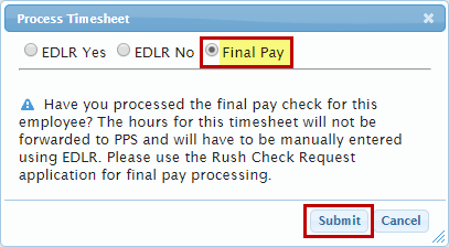 Selecting Final Pay option