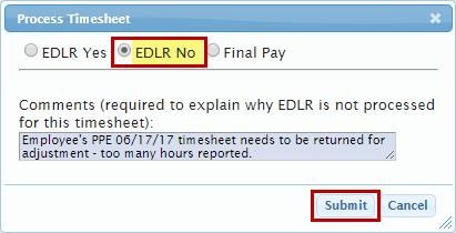 Selecting EDLR No Option