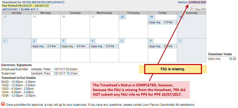 Example of a timesheet with the FAU missing