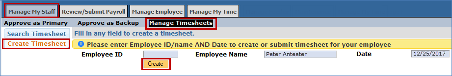 Location of create button in create timesheet screen